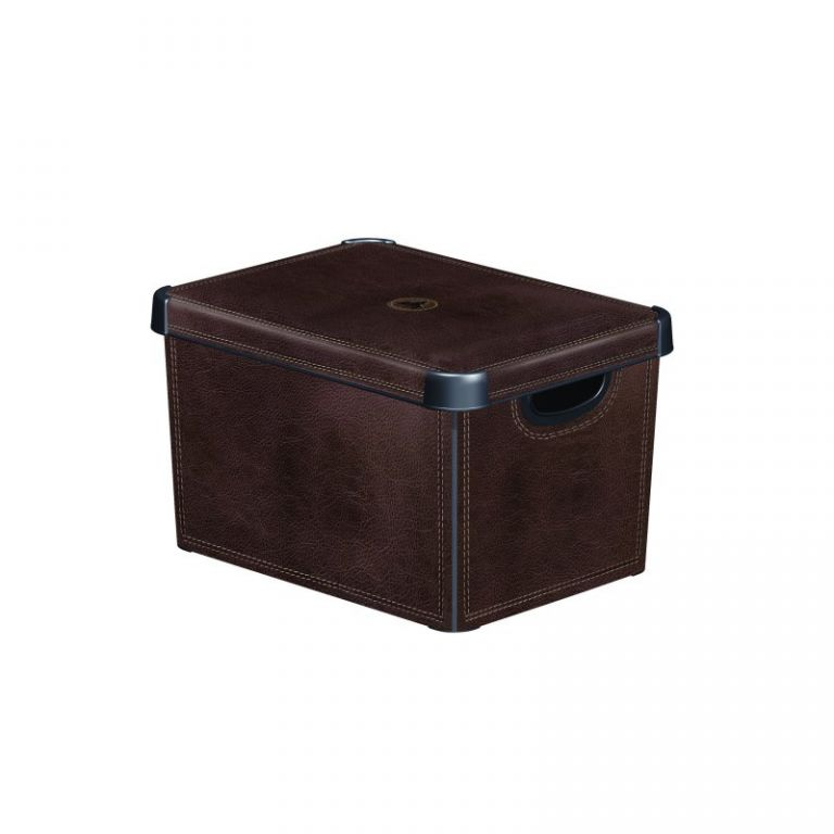 Plastový úložný box DECO - L - LEATHER CURVER