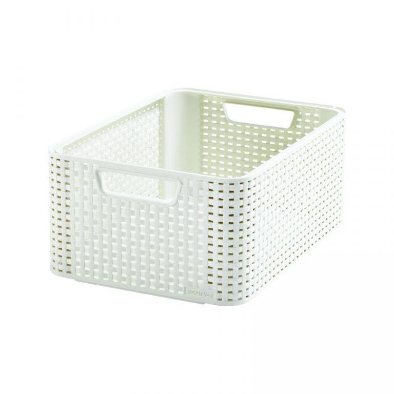 Plastový košík STYLE M - krémový CURVER
