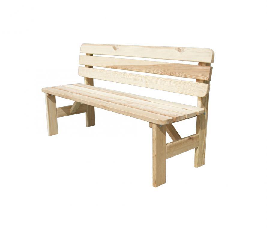 RojaPlast Dřevěná zahradní lavice VIKING 180cm z masivní borovice - přírodní ROPL.15/6