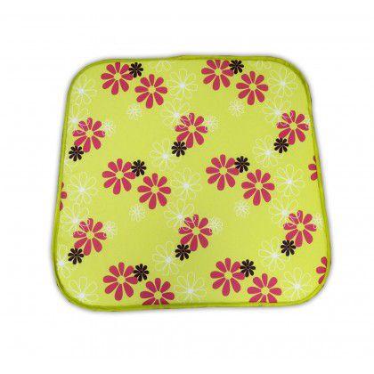 Sedák na křeslo SABA – zelený s květy 30330-220