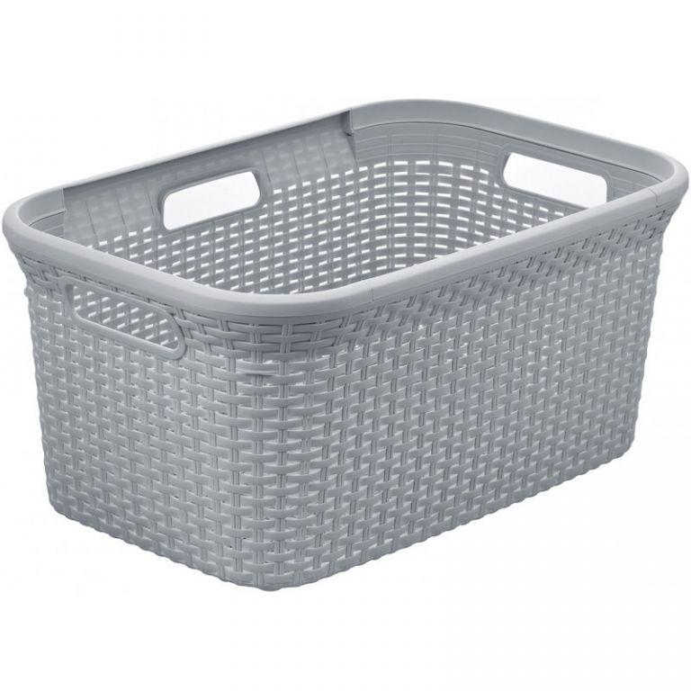 Koš na čisté prádlo RATTAN STYLE 45L  – šedý CURVER
