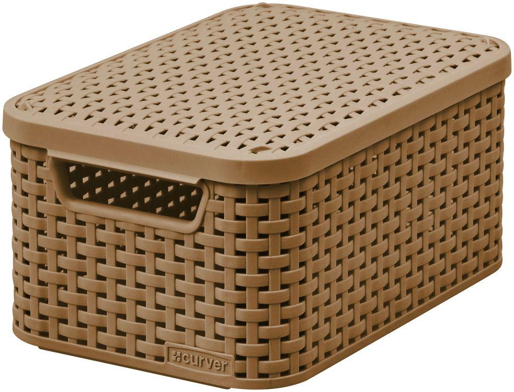 Košík box s víkem – S – mocha CURVER