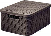 Košík box s víkem - M - tm. hnědý CURVER