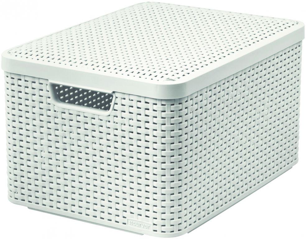 Košík box s víkem - L - krémový CURVER