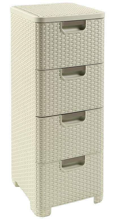 Skříňka ratanového vzhledu - 4x14L - krémová CURVER