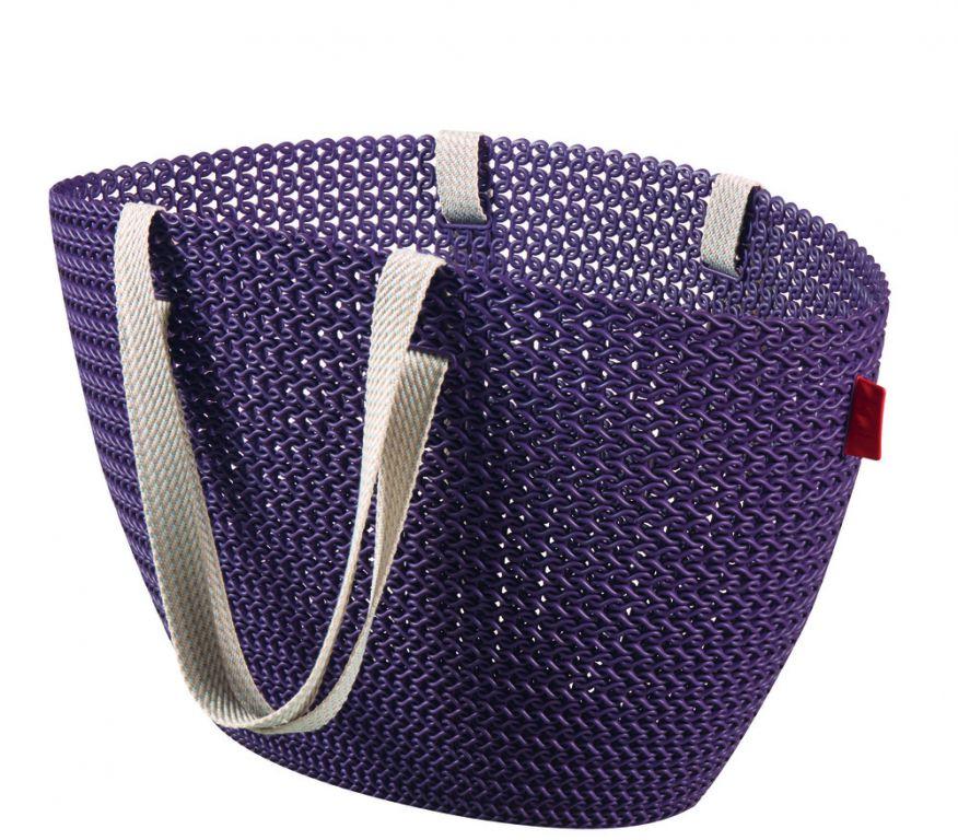 Taška nákupní,pikniková bag imitace háčkování – fialová CURVER