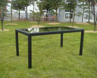 Zahradní stolek RATAN se skleněnou deskou 150x90cm