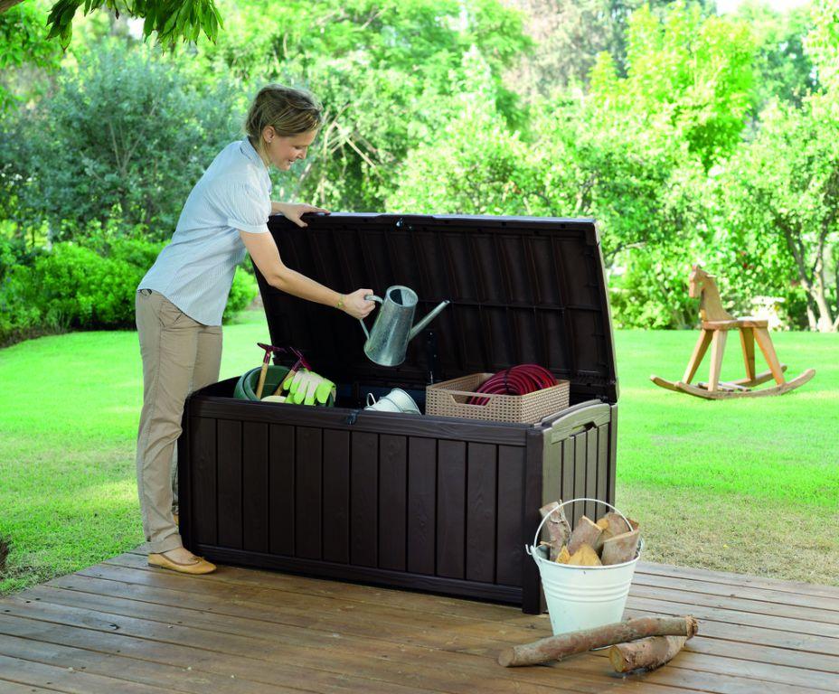 Zahradní plastový úložný box GLENWOOD – 128 x 65 x 61 cm
