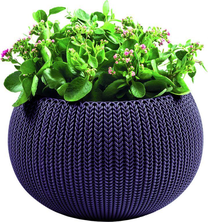 Květináč COZIES KNIT – M – tmavě fialová