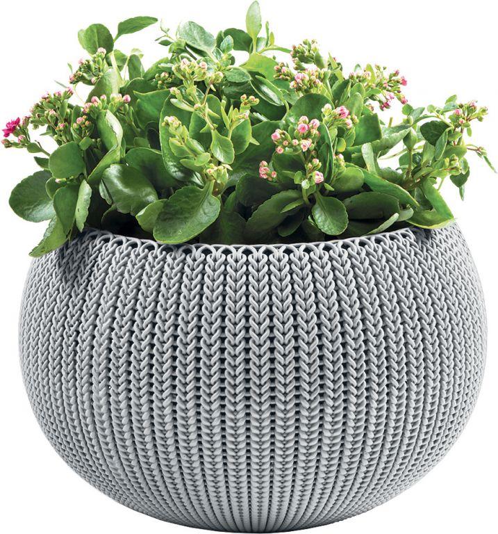 Květináč COZIES KNIT - šedá