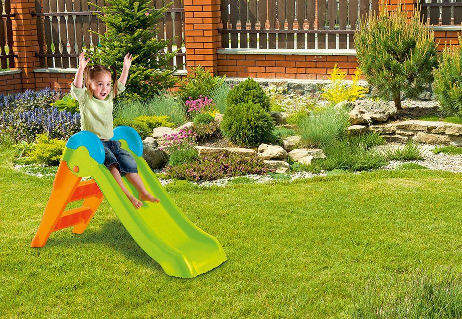 Zahradní plastová skluzavka BOOGIE - zelená/oranžová