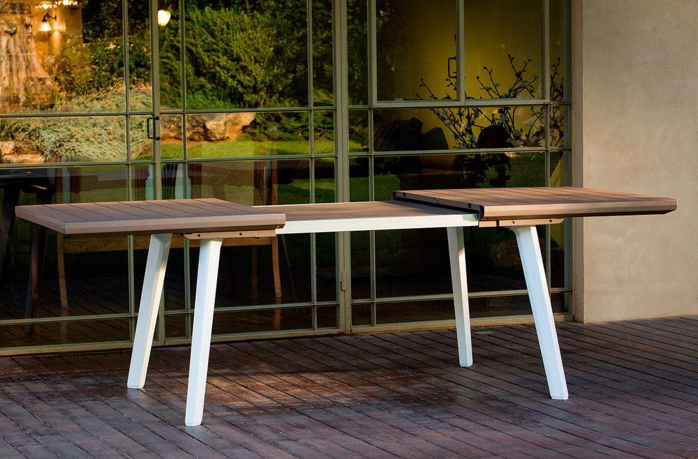 Zahradní rozkládací stůl HARMONY bílý+cappuchino