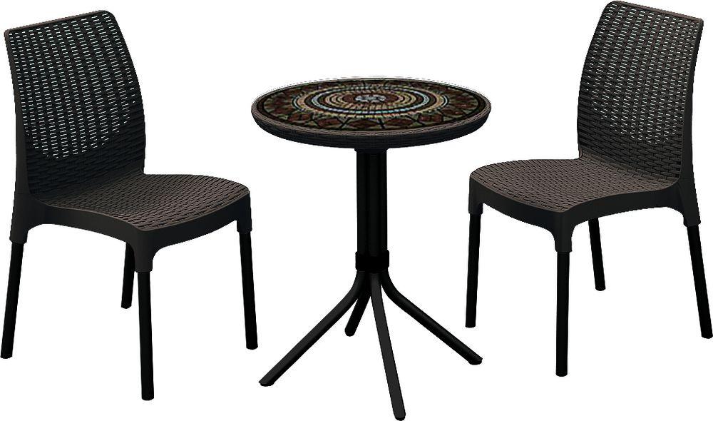 Jídelní set CHELSEA+MOSAIC table hnědý ROJAPLAST