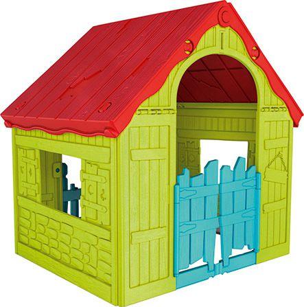 Plastový skládací dětský domeček - interiér/exteriér