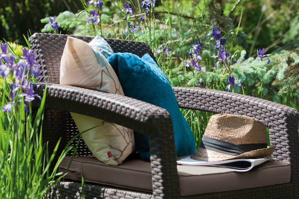 Zahradní set křesel CORFU hnědé + šedohnědé podušky
