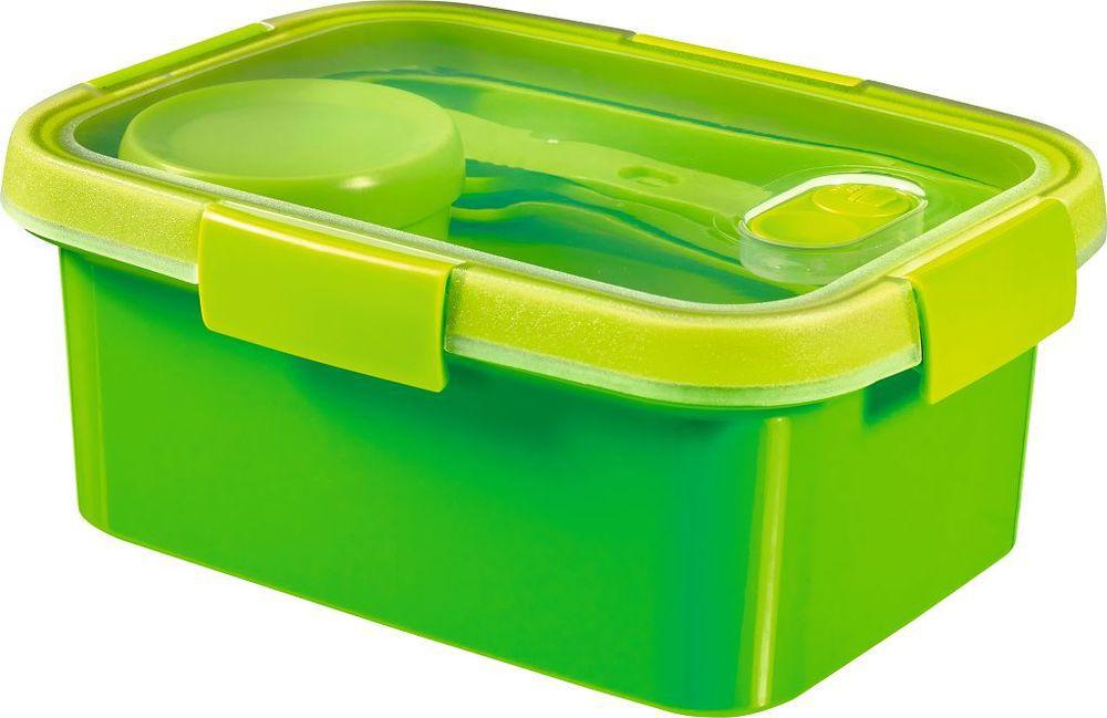 Dóza s příborem, táckem a kelímkem  SMART TO GO 1,2L – zelená