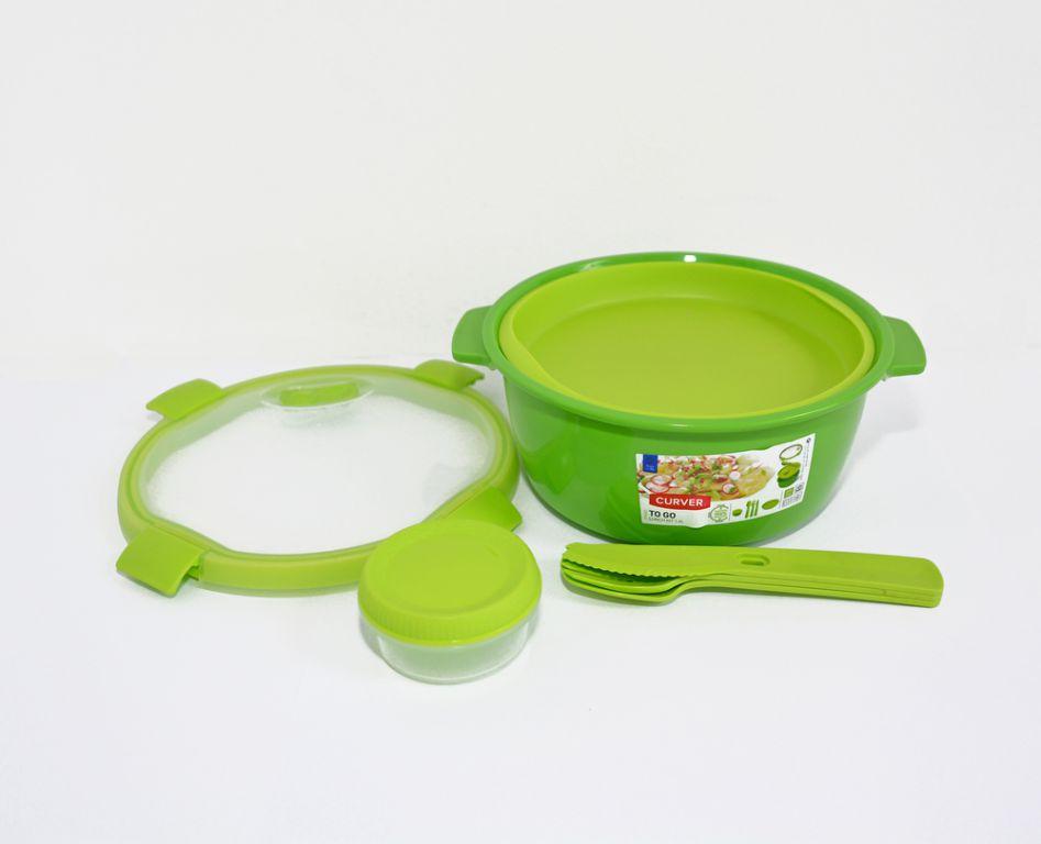 Dóza s příborem, táckem a kelímkem SMART TO GO 1,6L - zelená