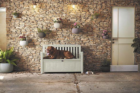 Zahradní lavice s úložným prostorem PATIO - bílá