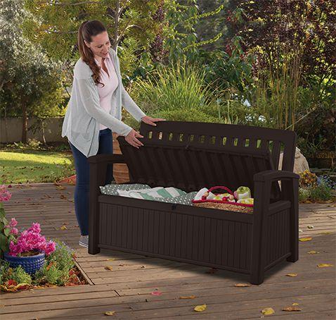 Zahradní lavice s úložným prostorem PATIO - hnědá