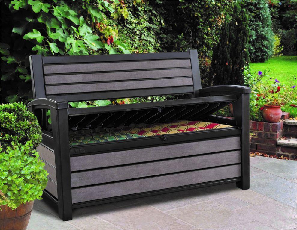 Zahradní lavice s úložným prostorem HUDSON - hnědá