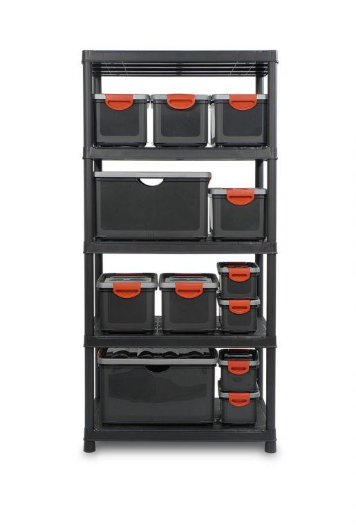 Plastový otevřený regál PLUS XL/5 - 187 x 90 x 60 cm