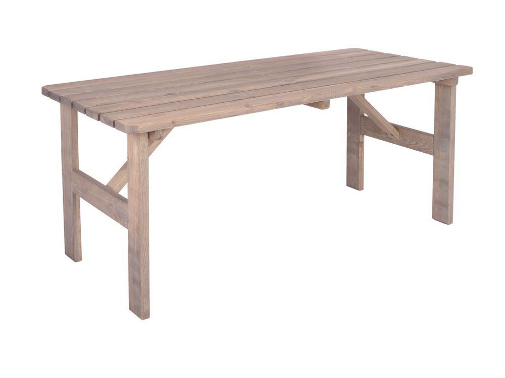 Zahradní masivní dřevěný stůl VIKING šedý - 150 cm