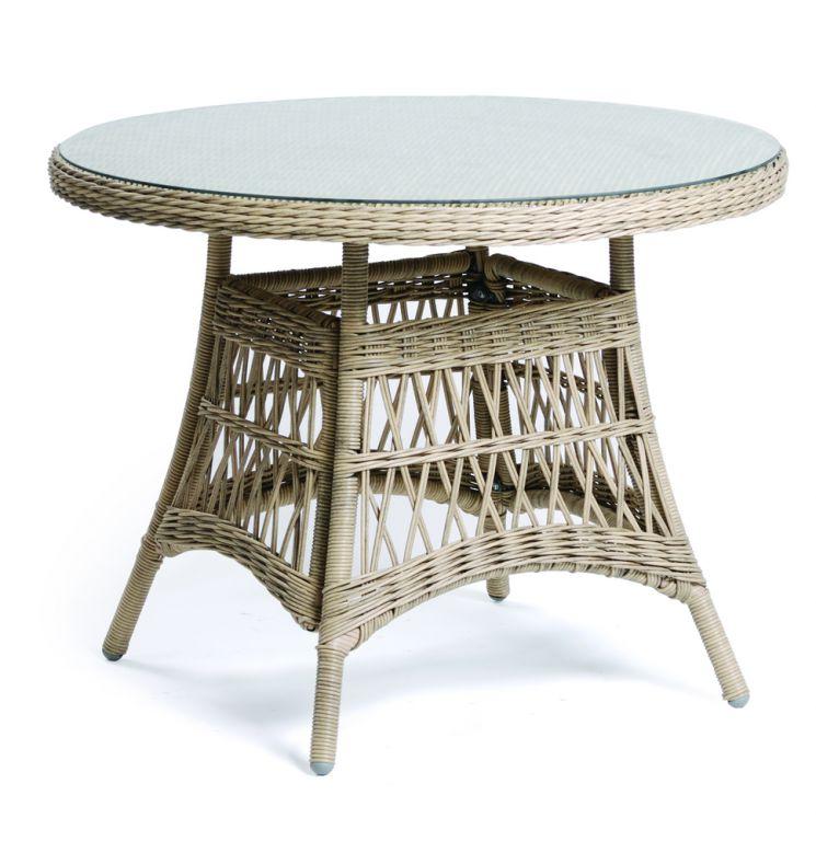 Zahradní polyratanový stůl se skleněnou deskou DENVER - 100 cm
