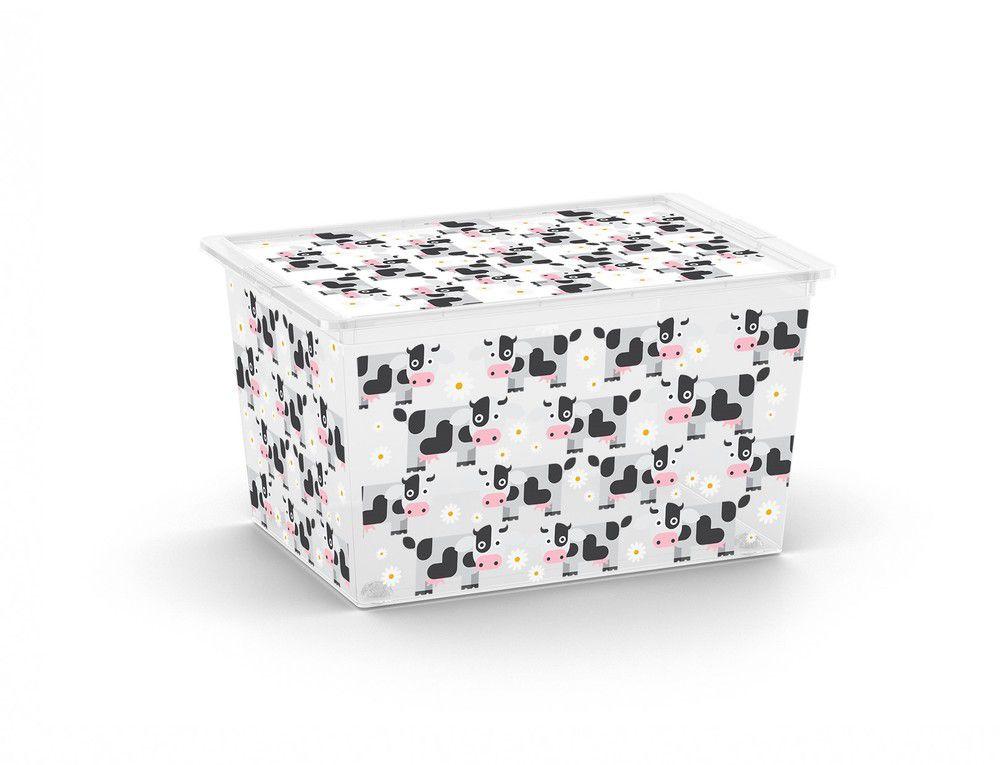 Plastový úložný KIS C box ANIMAL -XL – kravičky
