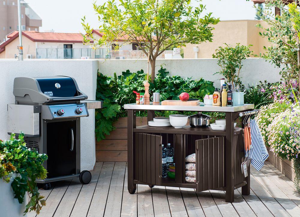 Zahradní stůl s úložným prostorem UNITY XL – hnědý