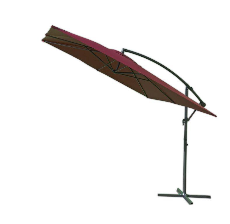 Čtvercový slunečník kovový  bordó - 270 x 270 cm