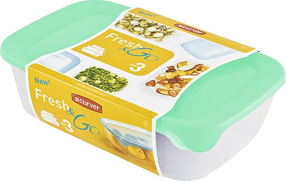 Plastový set dóz FRESH and GO - mint