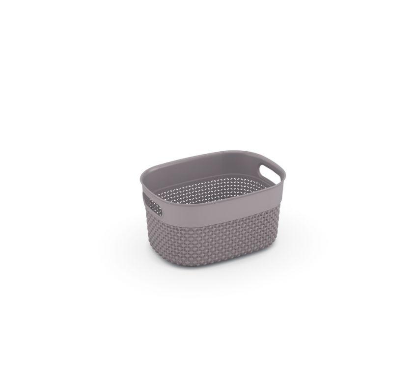 Plastový košík FILO XS – hnědošedá