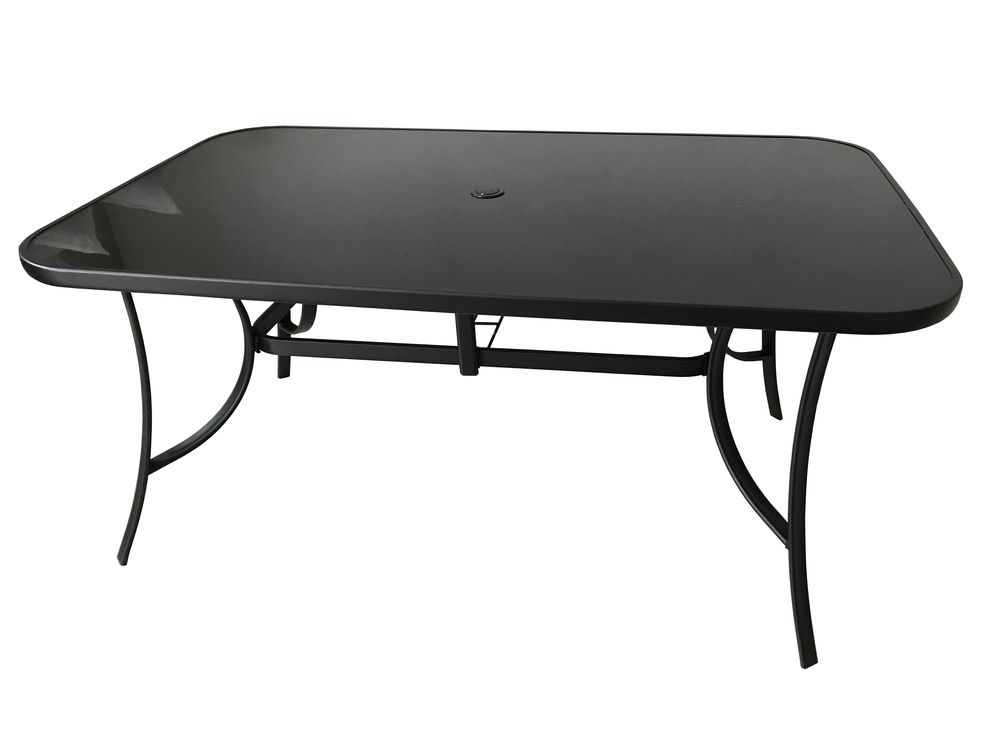 Zahradní kvalitní kovový stůl z černého skla