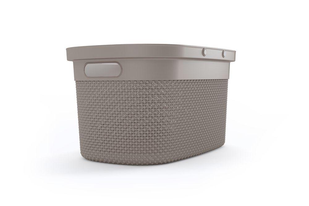 Plastový košík FILO  - hnědošedý