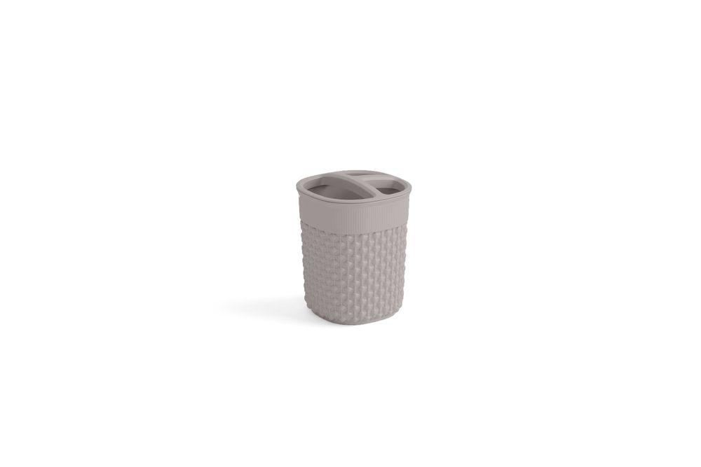 Plastový kelímek na kartáčky FILO – hnědošedý