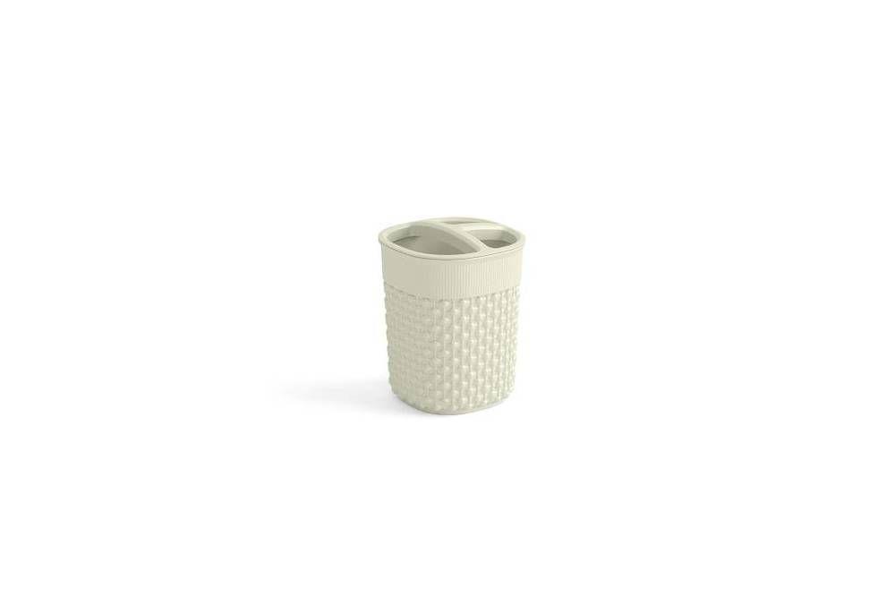 Plastový kelímek na kartáčky FILO  – krémový