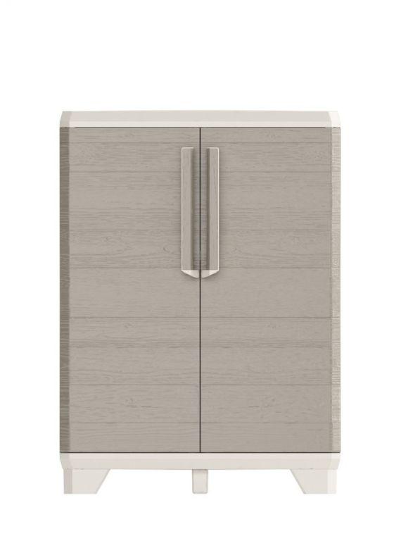 Plastová skříň WOOD GRAIN LOW -  97 x 68 x 39 cm