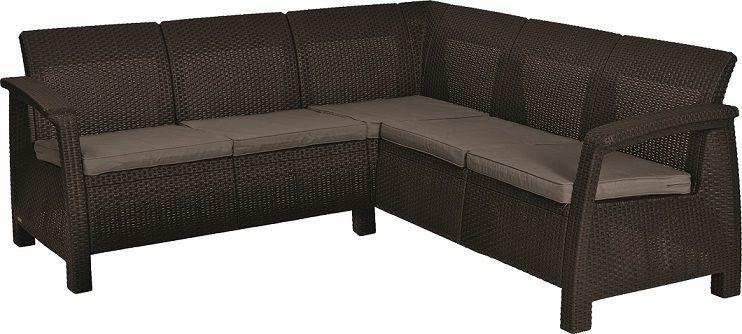Rohová moderní sofa CORFU RELAX - hnědá + šedohnědé podušky