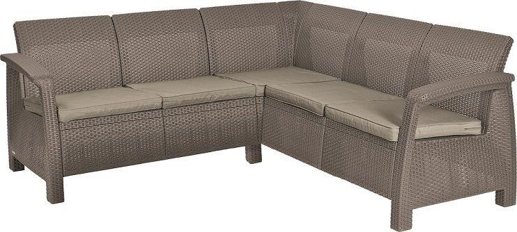 Rohová moderní sofa CORFU RELAX cappuccino + pískové podušky