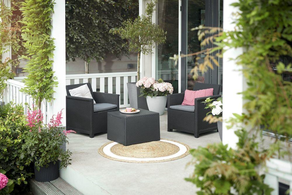 KETER Zahradní ratanový set EMMA – grafit, lisovaný plast