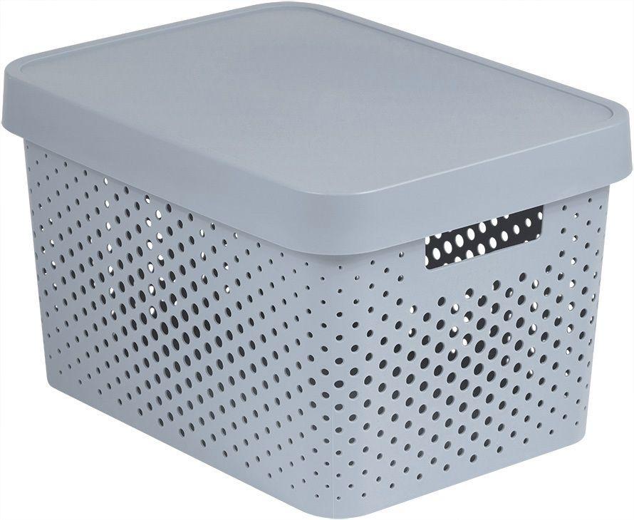 Úložný box INFINITY DOTS  – 17 L, šedý