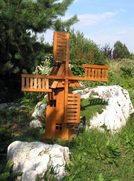 Dřevěný větrný mlýn zahradní dekorace