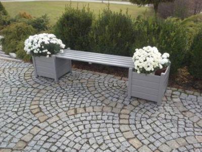 Dekorativní květináče + lavice šedá