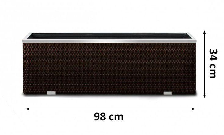 Rattan květináč 98 x 25 x 34 hnědý