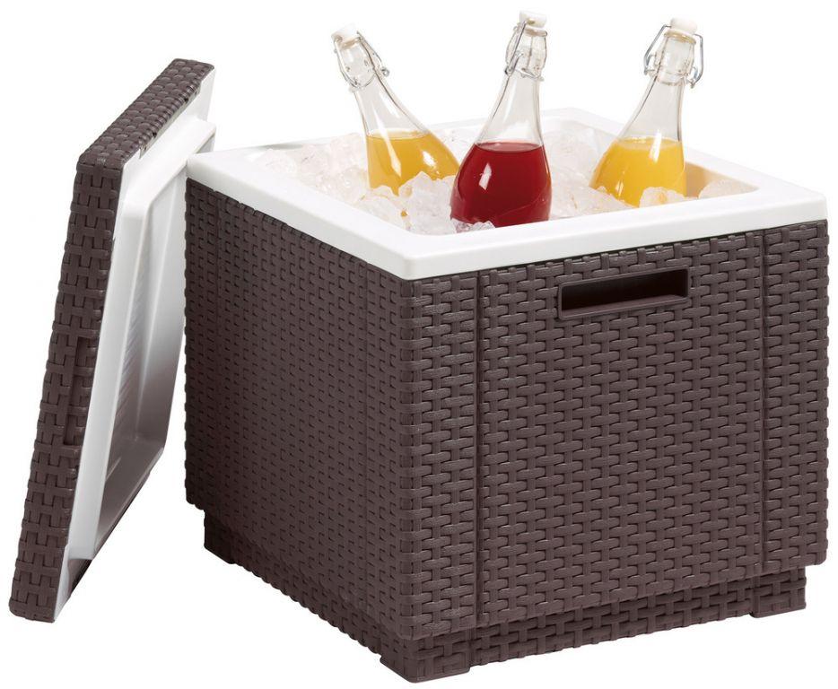 Zahradní chladnička taburet ICE CUBE - hnědá