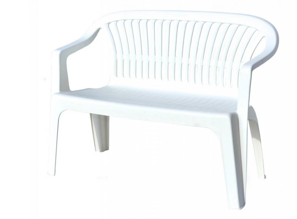 Plastová lavice DIVA - bílá, 114 x 82 x 55 cm